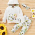 Three Pieces Flower Print Baby Girl Tracksuit Set Hoodie Headband And Sweatpants 4