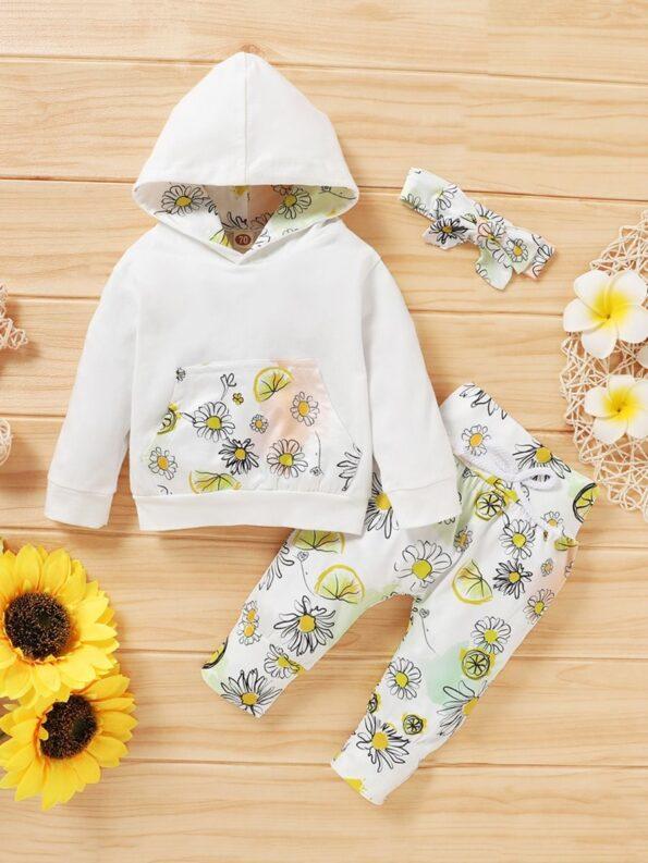 Three Pieces Flower Print Baby Girl Tracksuit Set Hoodie Headband And Sweatpants 11