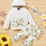 Three Pieces Flower Print Baby Girl Tracksuit Set Hoodie Headband And Sweatpants 5