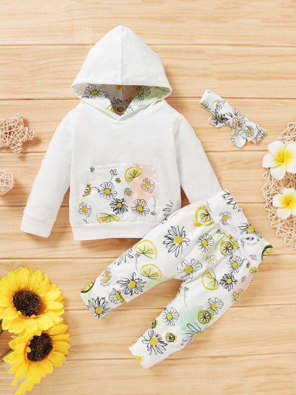 Three Pieces Flower Print Baby Girl Tracksuit Set Hoodie Headband And Sweatpants 12