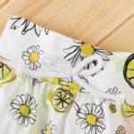 Three Pieces Flower Print Baby Girl Tracksuit Set Hoodie Headband And Sweatpants 6