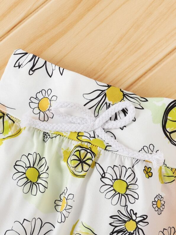 Three Pieces Flower Print Baby Girl Tracksuit Set Hoodie Headband And Sweatpants 13