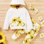 Three Pieces Flower Print Baby Girl Tracksuit Set Hoodie Headband And Sweatpants 3
