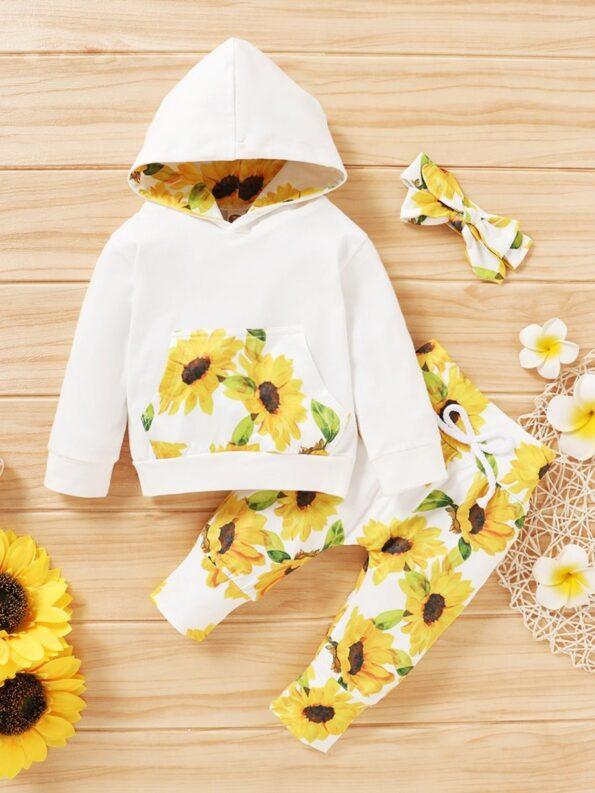 Three Pieces Flower Print Baby Girl Tracksuit Set Hoodie Headband And Sweatpants 10