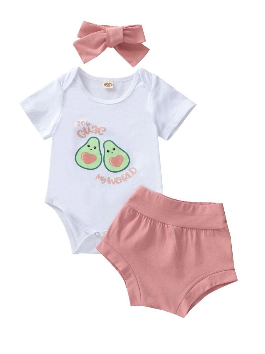 Three Pieces Avocado Print Baby Girl Outfit Sets Bodysuit Shorts Headband 2