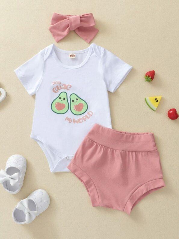 Three Pieces Avocado Print Baby Girl Outfit Sets Bodysuit Shorts Headband 8