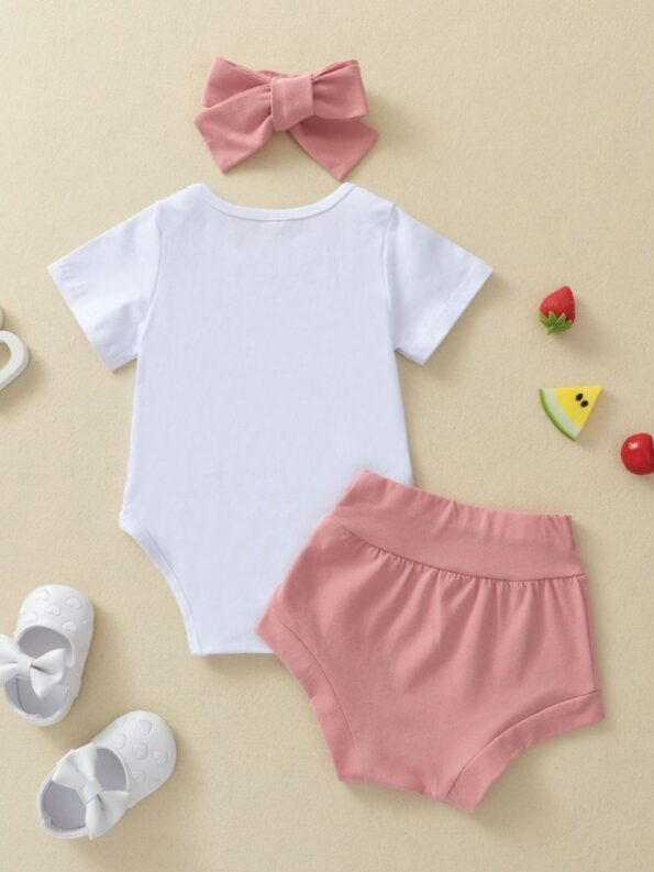 Three Pieces Avocado Print Baby Girl Outfit Sets Bodysuit Shorts Headband 7
