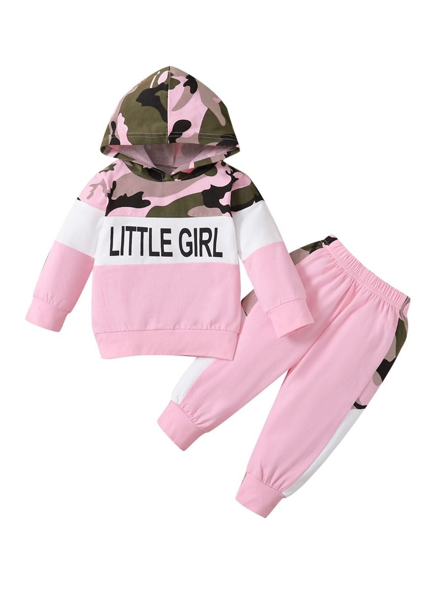 Two Pieces Little Print Camo Girl Tracksuit Set Hoodie And Jogger  Wholesale 2