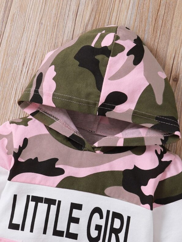 Two Pieces Little Print Camo Girl Tracksuit Set Hoodie And Jogger  Wholesale 12