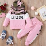 Two Pieces Little Print Camo Girl Tracksuit Set Hoodie And Jogger  Wholesale 4