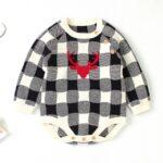 Elk Checked Xmas Long Sleeve Baby Knit Bodysuit 4