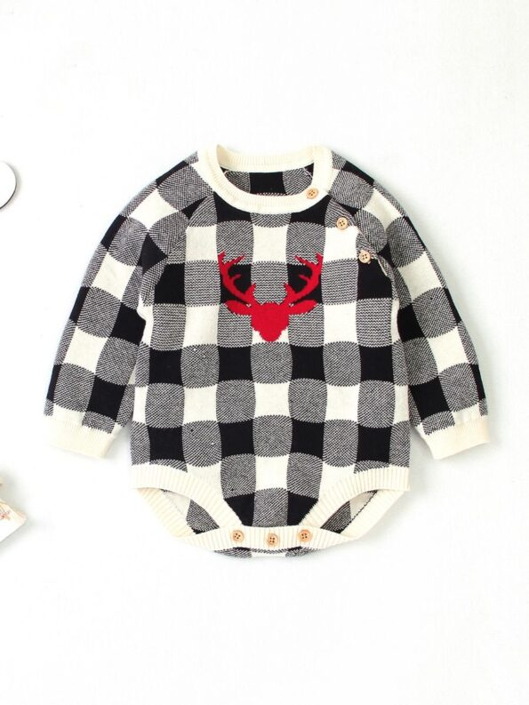 Elk Checked Xmas Long Sleeve Baby Knit Bodysuit 14