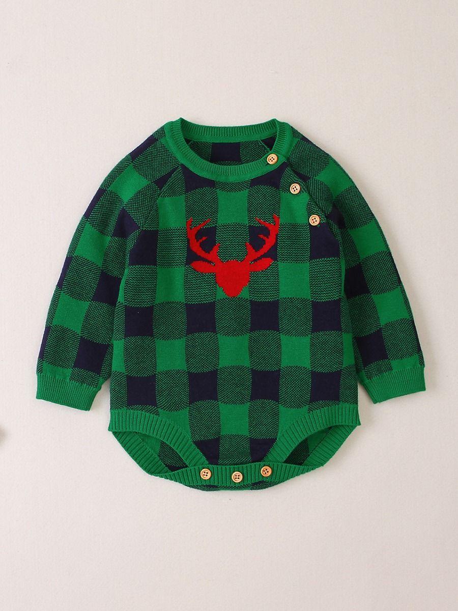 Elk Checked Xmas Long Sleeve Baby Knit Bodysuit 2