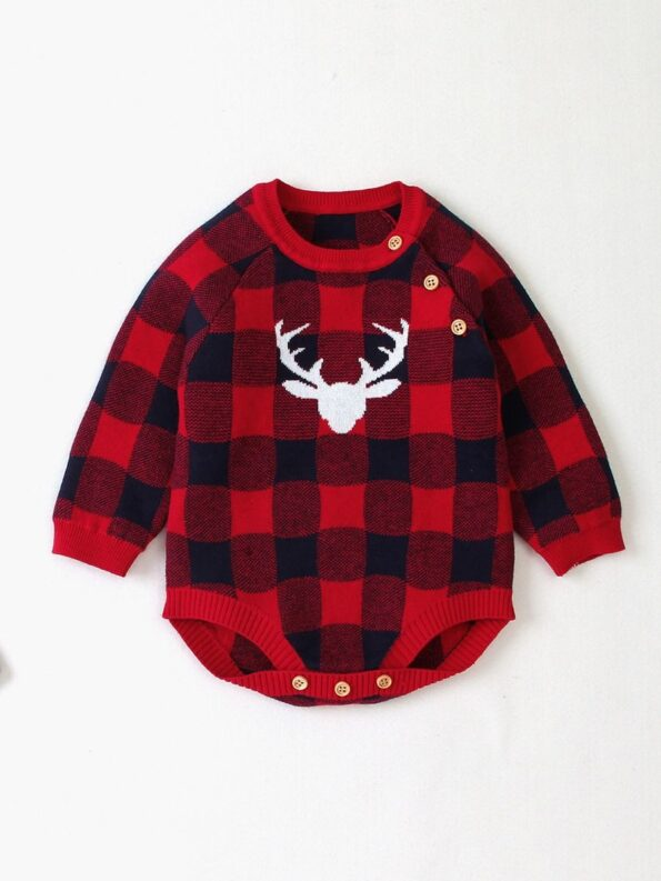Elk Checked Xmas Long Sleeve Baby Knit Bodysuit 19