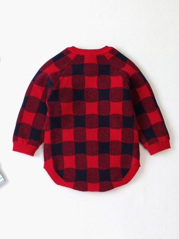 Elk Checked Xmas Long Sleeve Baby Knit Bodysuit 18