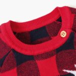 Elk Checked Xmas Long Sleeve Baby Knit Bodysuit 12
