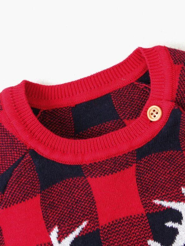 Elk Checked Xmas Long Sleeve Baby Knit Bodysuit 22