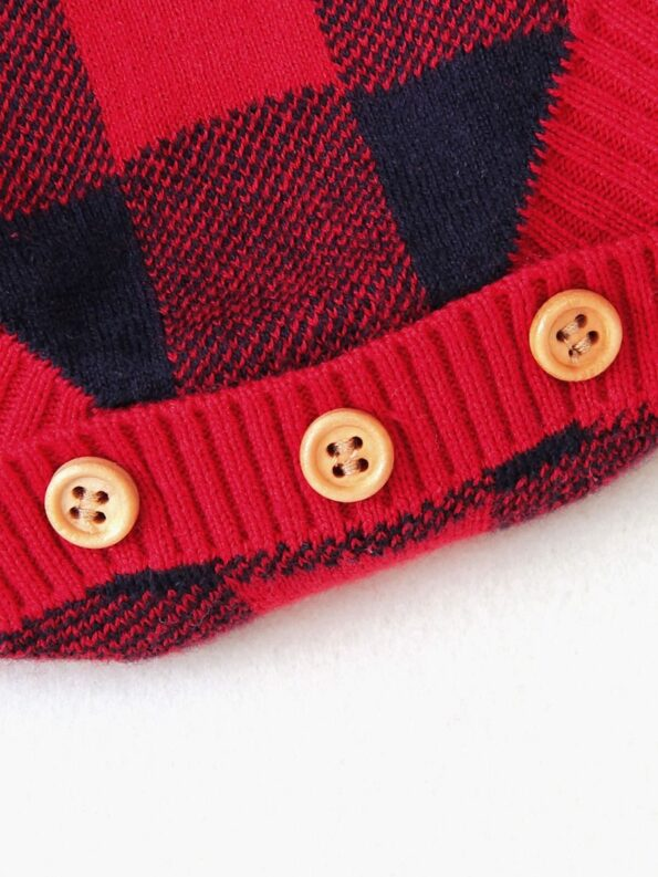 Elk Checked Xmas Long Sleeve Baby Knit Bodysuit 21