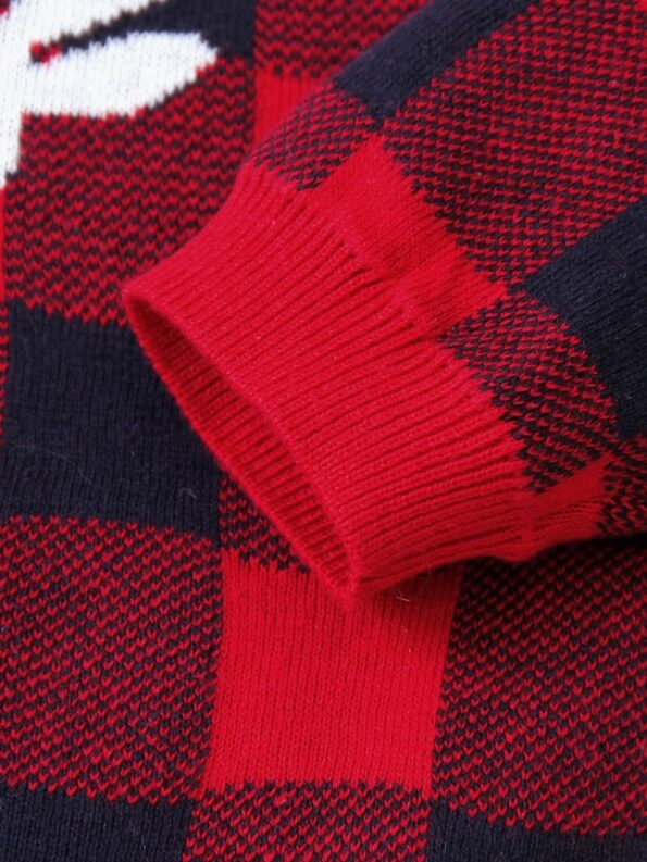 Elk Checked Xmas Long Sleeve Baby Knit Bodysuit 20