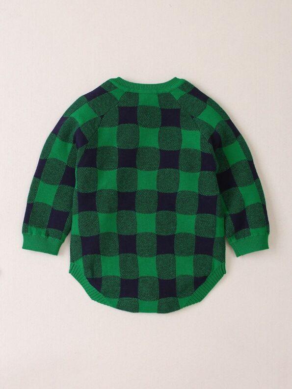 Elk Checked Xmas Long Sleeve Baby Knit Bodysuit 17