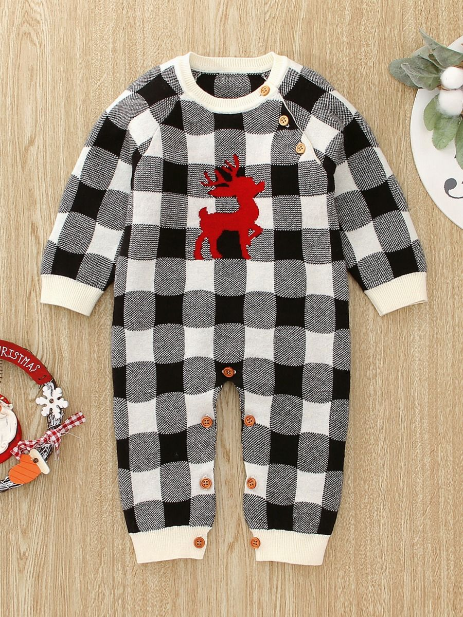 Checked Elk Christmas Knitted Baby Bodysuit 19