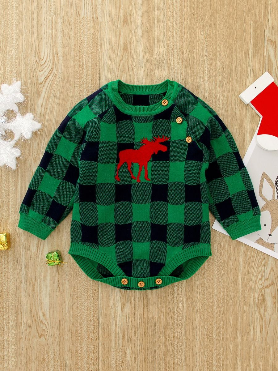 Checked Elk Christmas Knitted Baby Bodysuit 2