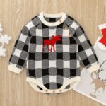 Checked Elk Christmas Knitted Baby Bodysuit 10
