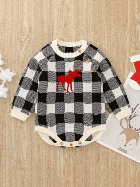 Checked Elk Christmas Knitted Baby Bodysuit 18