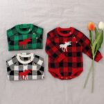 Checked Elk Christmas Knitted Baby Bodysuit 9