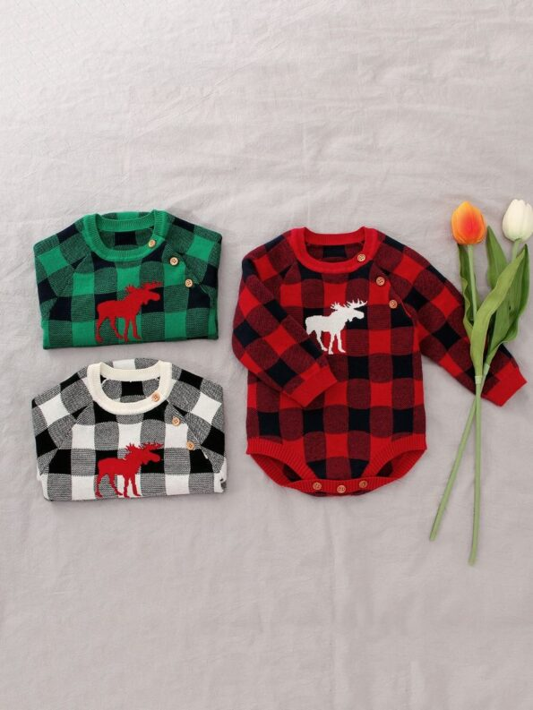 Checked Elk Christmas Knitted Baby Bodysuit 17