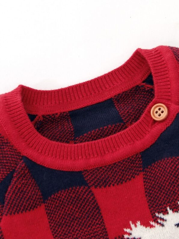 Checked Elk Christmas Knitted Baby Bodysuit 16
