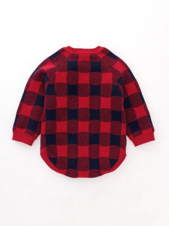 Checked Elk Christmas Knitted Baby Bodysuit 13