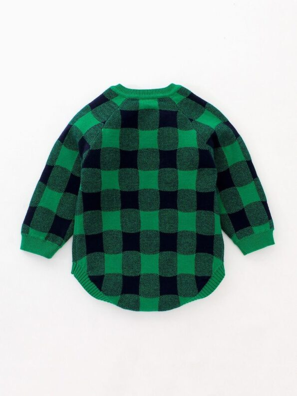 Checked Elk Christmas Knitted Baby Bodysuit 11