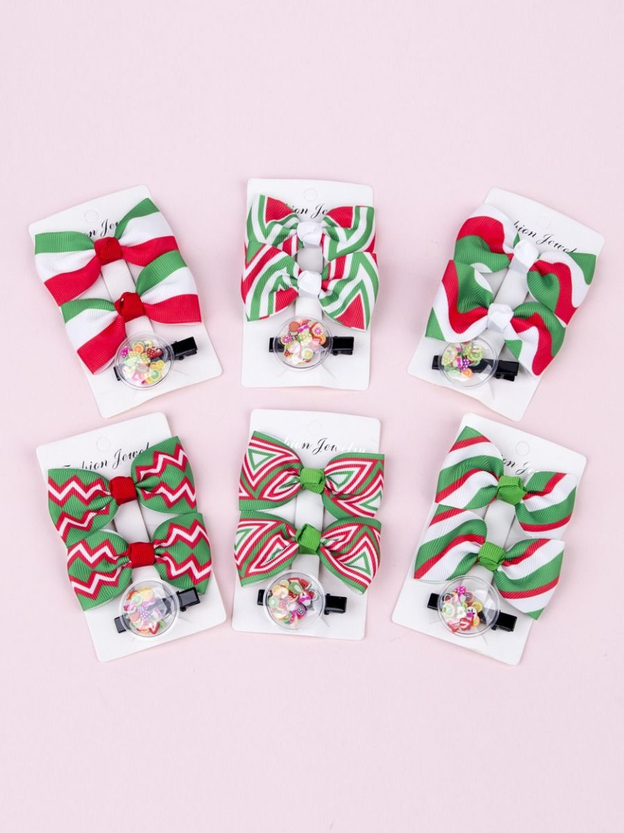 3 Pack Little Girl Christmas Bow Hairpins