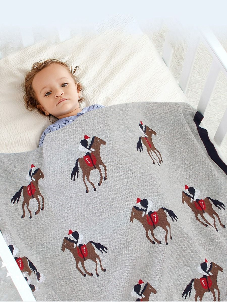 Horse Knit Baby Blanket Wholesale ACCESSORIES Unisex