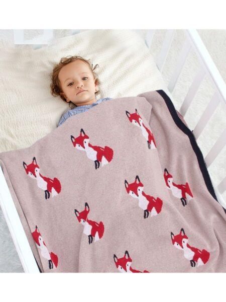 Fox Knit Cotton Blanket Wholesale ACCESSORIES Unisex