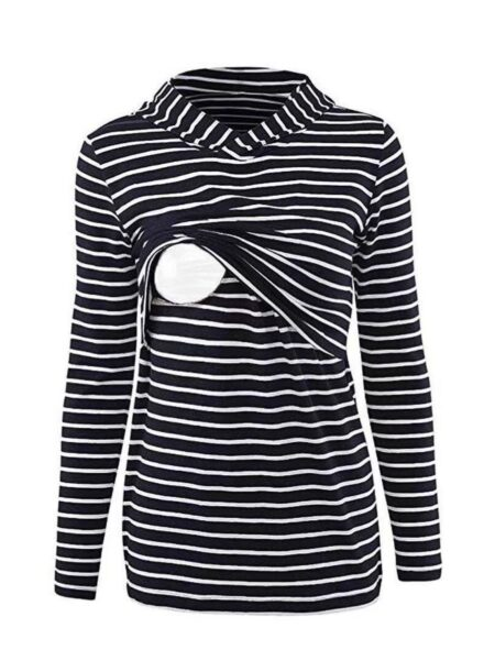 Fashion Striped Hoodie Nursing Maternity Top Wholesale 2