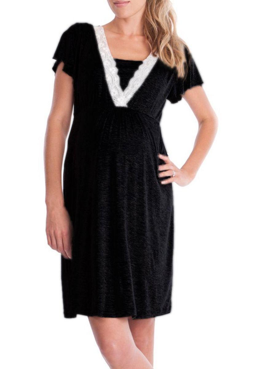 Fashion Lace V Collar Maternity & Nursing Sleep Dress Wholesale Women