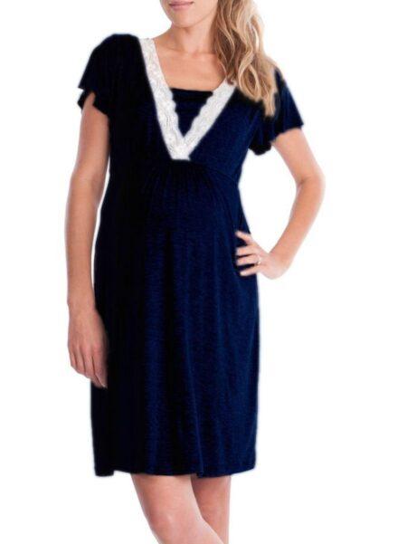 Fashion Lace V Collar Maternity & Nursing Sleep Dress Wholesale Women 2