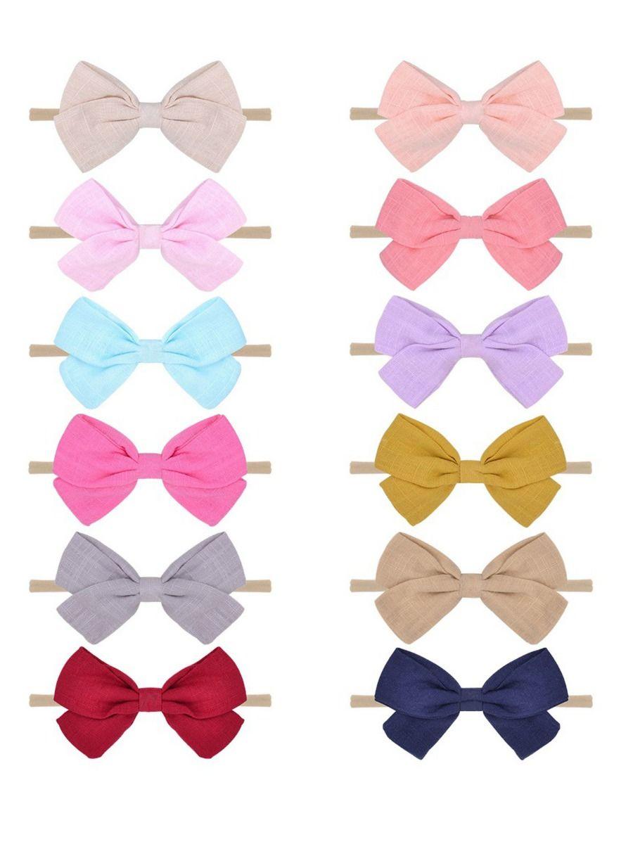 12 Pack Versatile Little Girl Random Color Bowknot Headbands Wholesale Headbands