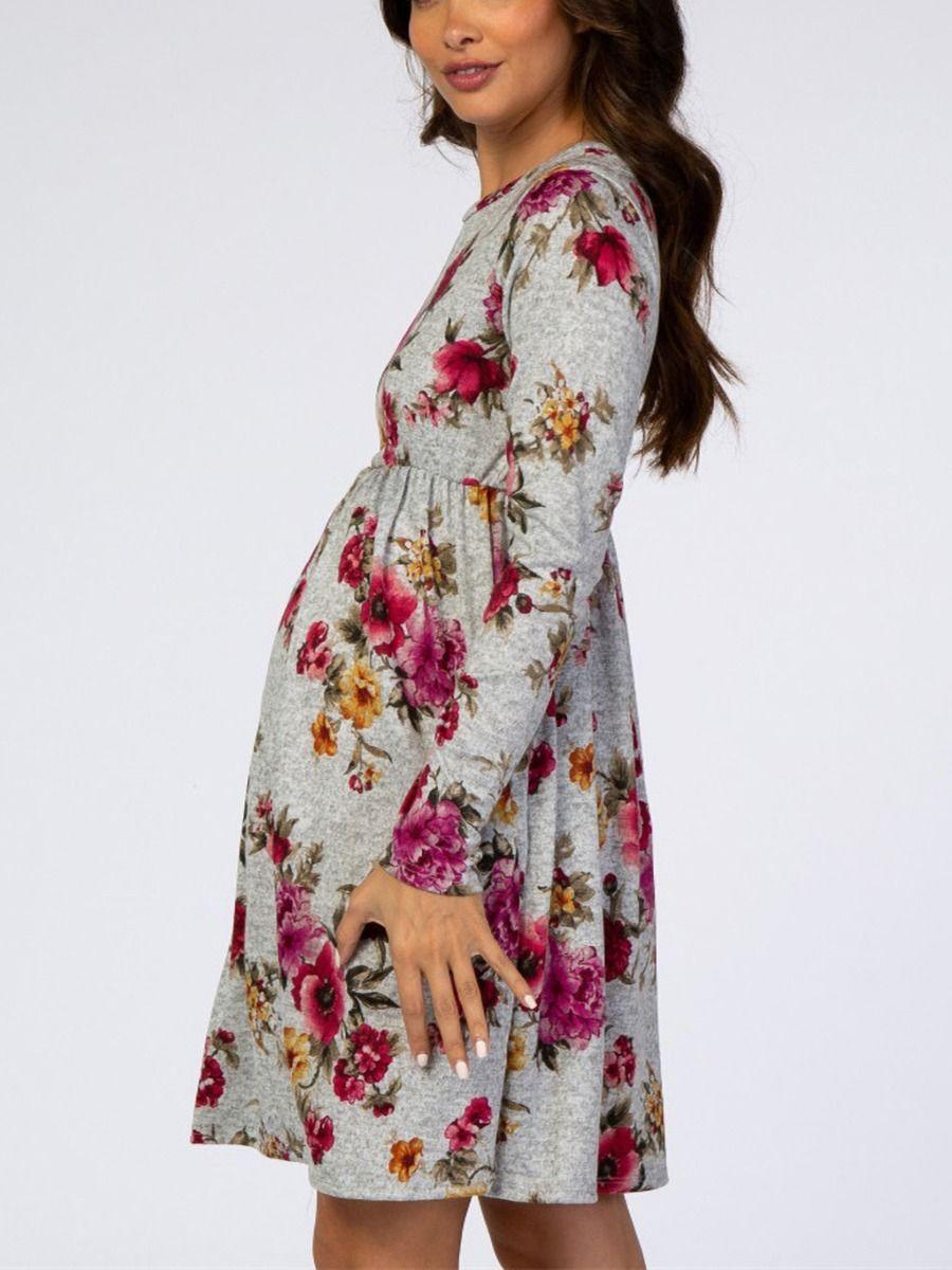 Autumn Maternity Long Sleeve Floral Print Dress Wholesale Women 2