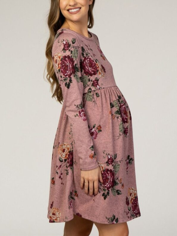 Autumn Maternity Long Sleeve Floral Print Dress Wholesale Women 10