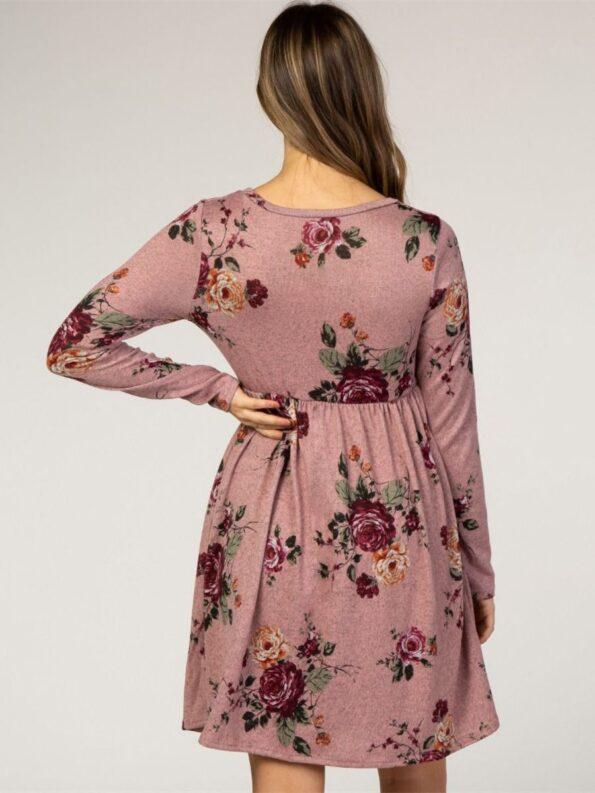 Autumn Maternity Long Sleeve Floral Print Dress Wholesale Women 14