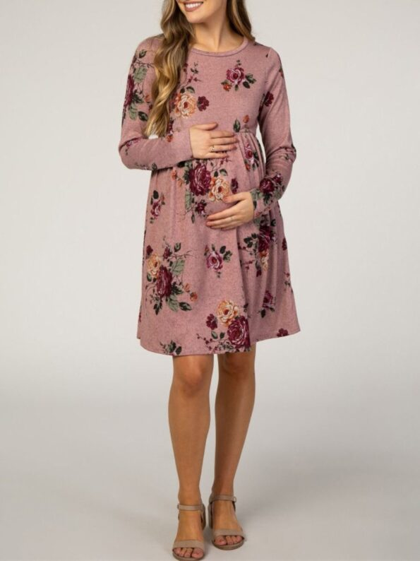 Autumn Maternity Long Sleeve Floral Print Dress Wholesale Women 13