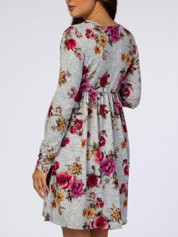 Autumn Maternity Long Sleeve Floral Print Dress Wholesale Women 9
