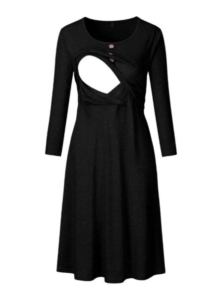 Maternity Solid Color Button Decor Nursing Dress Wholesale MOMMY & ME 2021-08-25