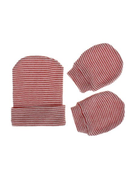 2 Pieces Baby Stripe Beanie With Gloves Wholesale Hats ACCESSORIES Unisex