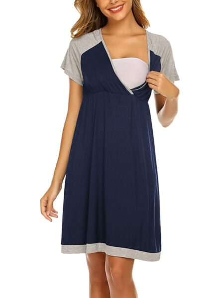 Maternity Color Blocking Nursing Casual Dress Wholesale Women MOMMY & ME 2021-08-25