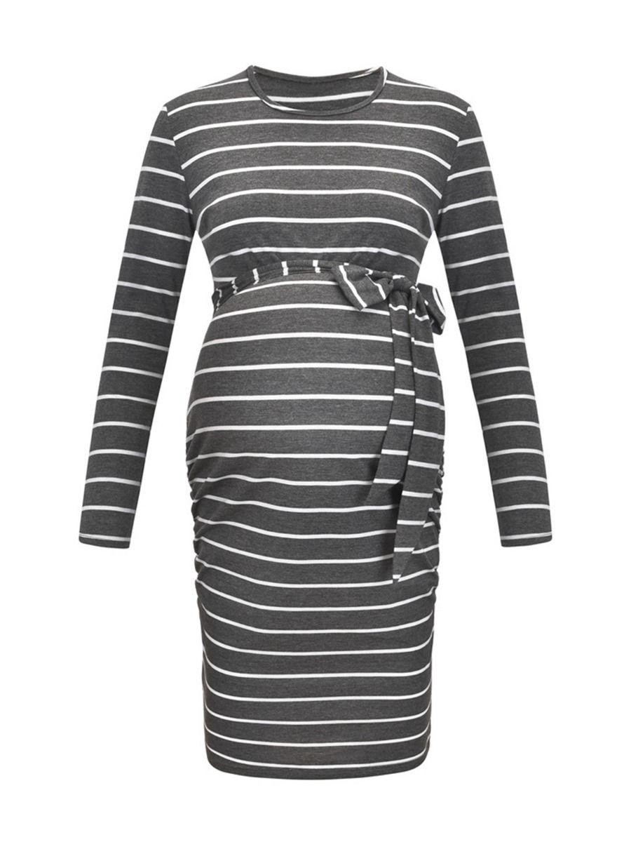 Maternity Stripe Belted Dress Wholesale Women