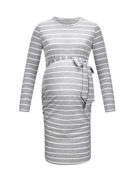 Maternity Stripe Belted Dress Wholesale Women 2